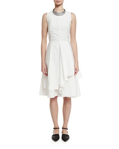 Sleeveless Tiered-Skirt A-Line Dress