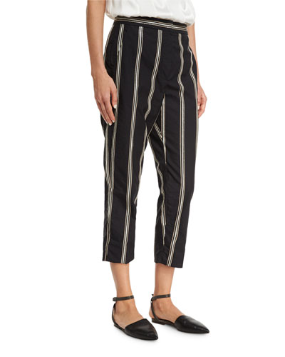 Two-Tone Paillette-Stripe Cropped Pants, Black