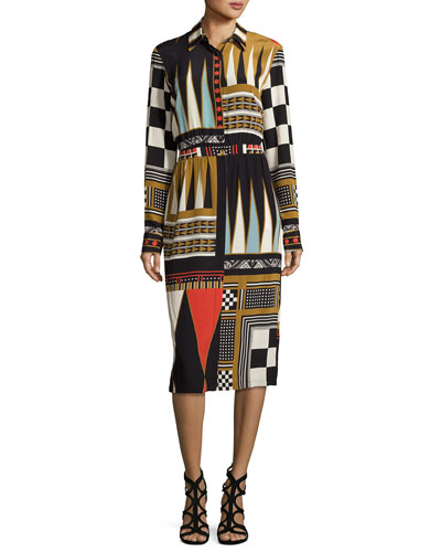 Backgammon-Print Long-Sleeve Shirtdress, Black