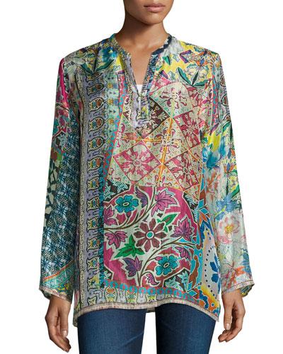 Revine Printed Silk Tunic, Plus Size