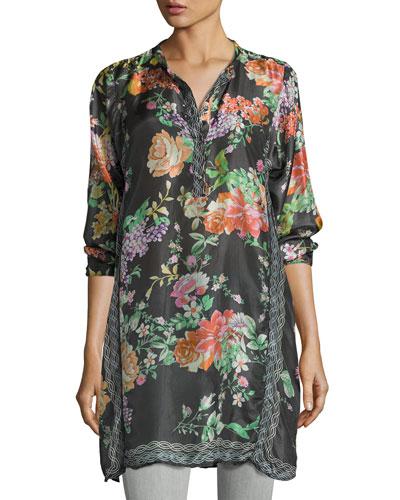 Camilla Long Floral-Print Silk Tunic, Petite