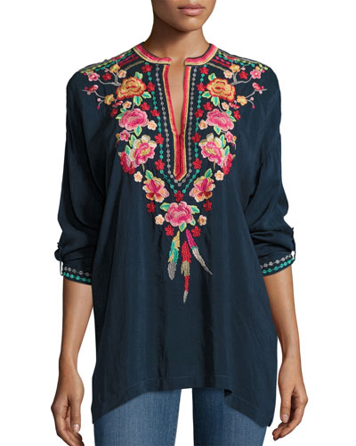 Blossom Tab-Sleeve Embroidered Blouse, Plus Size
