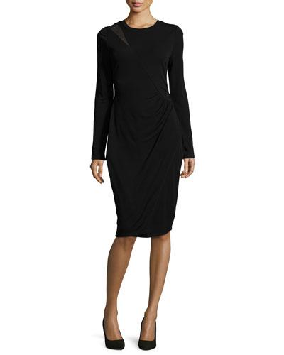 Sinaya Long-Sleeve Ruched Sheath Dress, Black