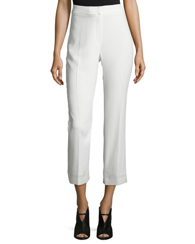 Harper High-Rise Cropped Pants, White