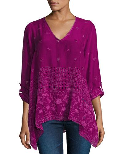Sash Flare Georgette Tunic, Purple