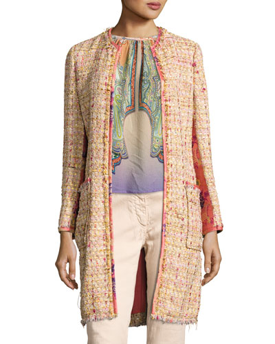 Brocade-Panel Tweed Coat, Peach
