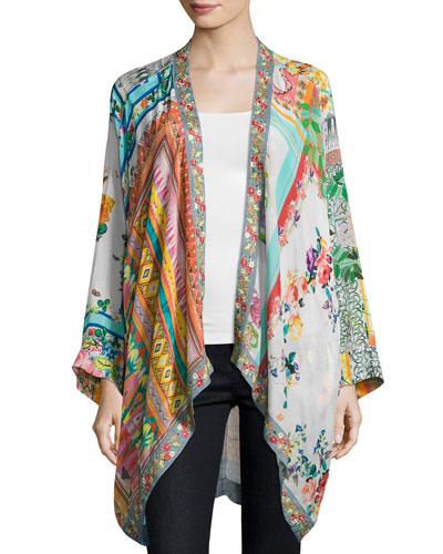 Scarf-Print Georgette Kimono Jacket, Petite
