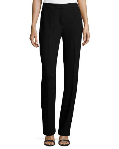 Leena Slim Stretch-Knit Pants, Black