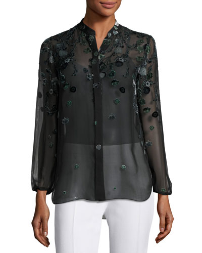 Amina Long-Sleeve Floral Blouse, Dark Green Multi