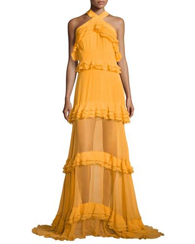 Sleeveless Halter Tiered Gown, Marigold