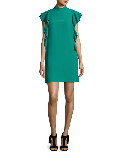 flutter-sleeve satin crepe shift dress, emerald ring