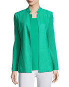 Lace-Sleeve Knit Jacket, Green, Plus Size