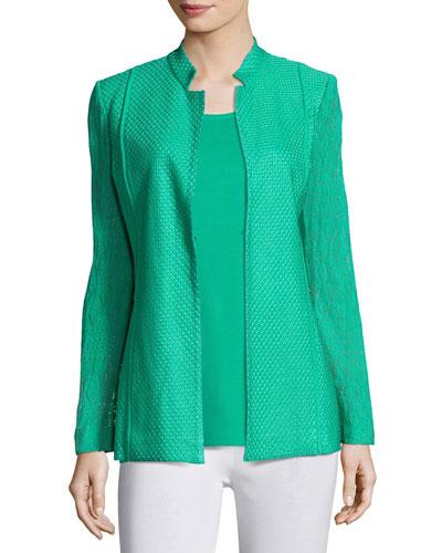 Lace-Sleeve Knit Jacket, Green, Plus Size