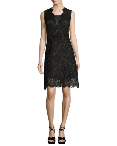 Anne Sleeveless A-Line Lace Dress, Black
