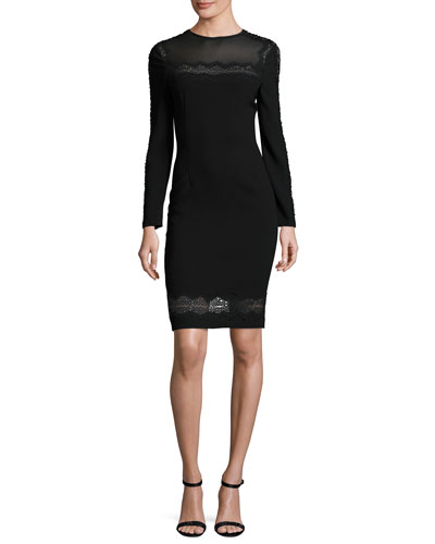 Candice Long-Sleeve Lace-Trimmed Sheath Dress, Black