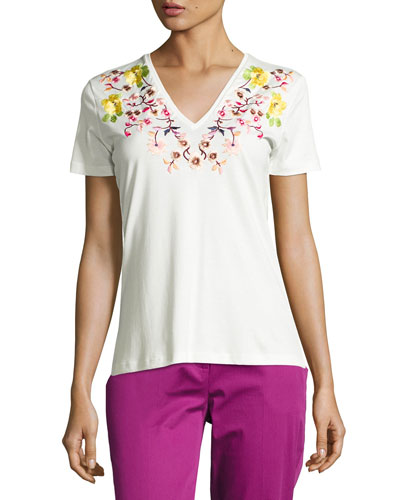 Floral-Embroidered V-Neck Tee, Ivory