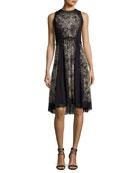 Sleeveless Lace-Print A-Line Dress, Black