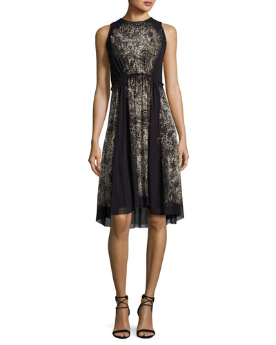 Sleeveless Lace-Print A-Line Dress, Black