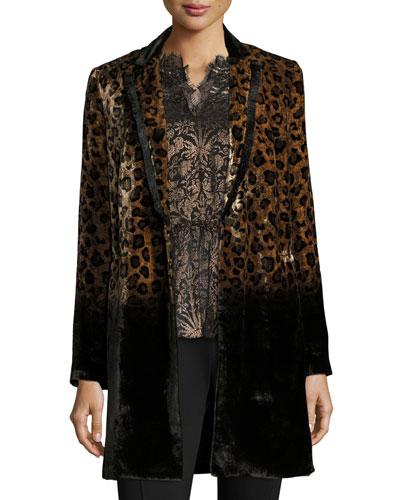 Pam Leopard-Print Velvet Coat