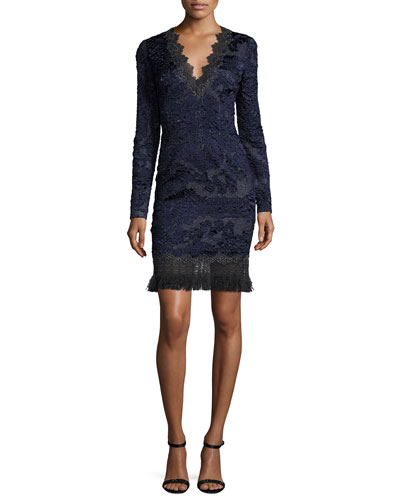 Camden Long-Sleeve Lace Dress w/ Fringe Hem, Navy