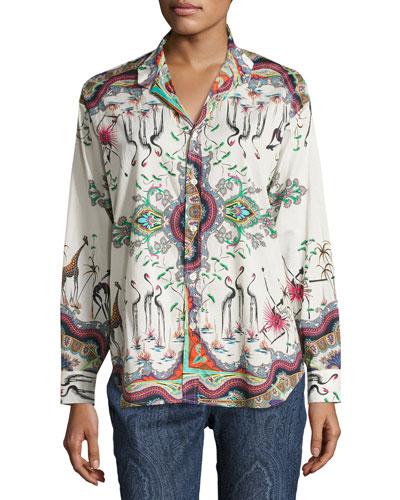 Safari-Print Cotton Blouse, White