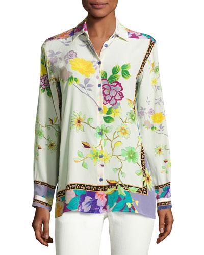 Floral Silk Kimono Blouse, Ivory