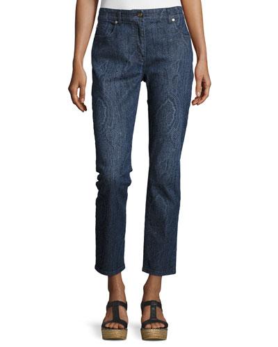 Paisley Straight-Leg Ankle Jeans, Blue