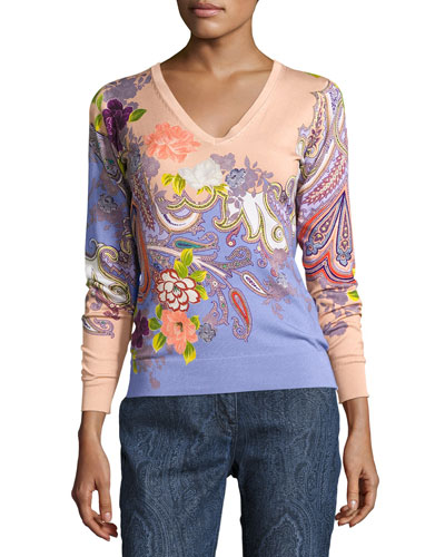 Stampa Paisley V-Neck Sweater, Peach/Lilac