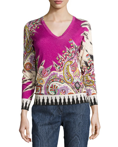 Paisley Stampa V-Neck Sweater, Fuchsia/Black