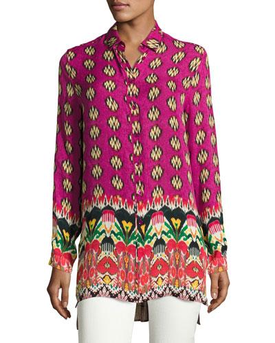 Voile Ikat-Print Silk Tunic, Fuchsia