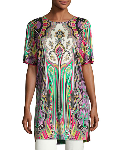 Paisley Half-Sleeve Long Tunic, Purple/Green/Red