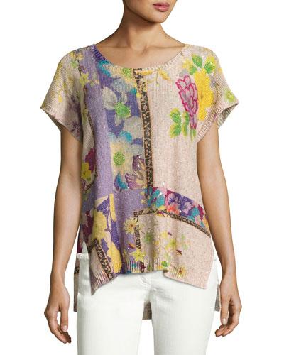 Sequined Floral Short-Sleeve Tunic, Fuchsia/Peach/Lilac
