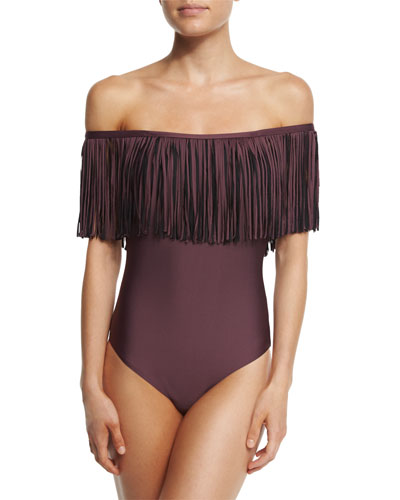 Fringe Benefits Off-the-Shoulder One-Piece Swimsuit