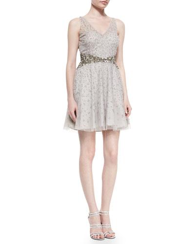 Beaded Sleeveless V-Neck Dress, Silver