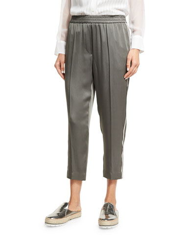 Satin Pull-On Ankle Pants, Olive