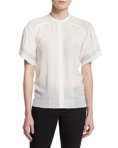 Short-Sleeve Pleated Silk Blouse, White