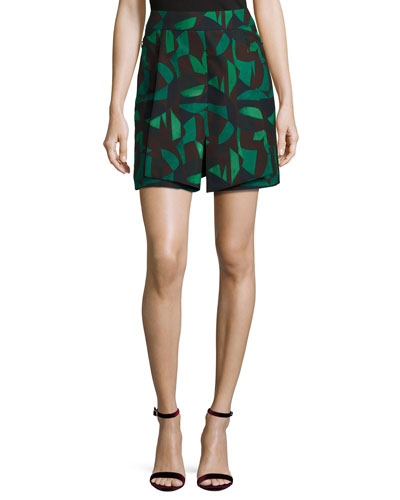 Garden-Print Short Skirt, Green/Black