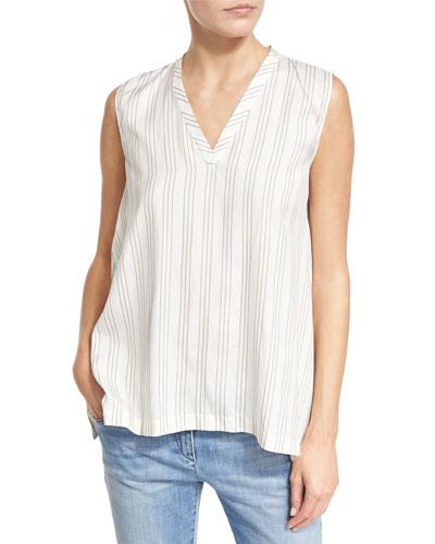 Regimental-Striped Silk V-Neck Top, White/Tan