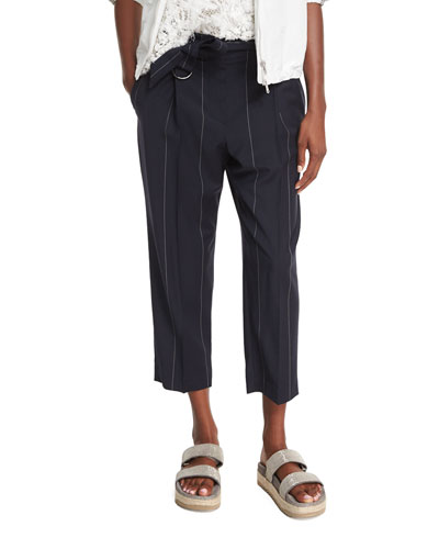Wide-Pinstripe Belted Ankle Pants, Dark Blue