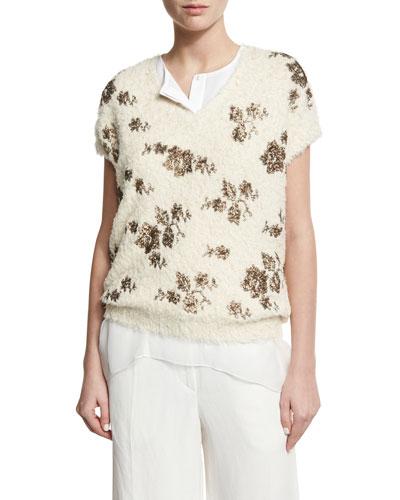 Metallic-Floral Short-Sleeve Sweater, Ivory