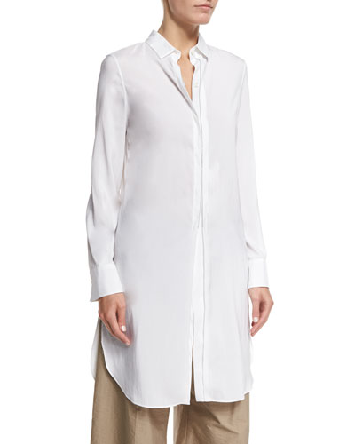 Monili-Trim Side-Slit Long Tunic, White