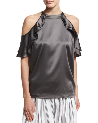 Ruffled Satin Cold-Shoulder Top