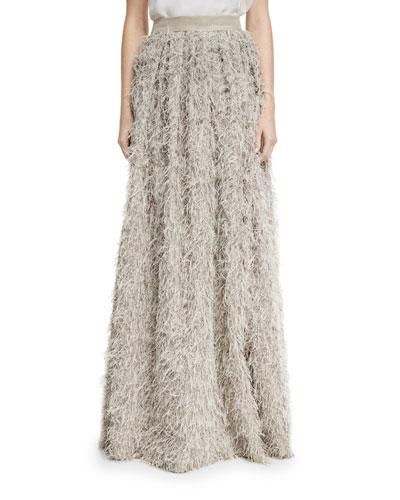 Summer Faux-Fur Maxi Skirt, Gray