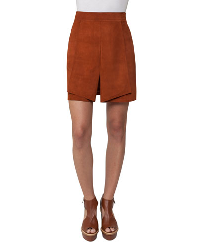 Pleated Suede Mini Skirt, Marron