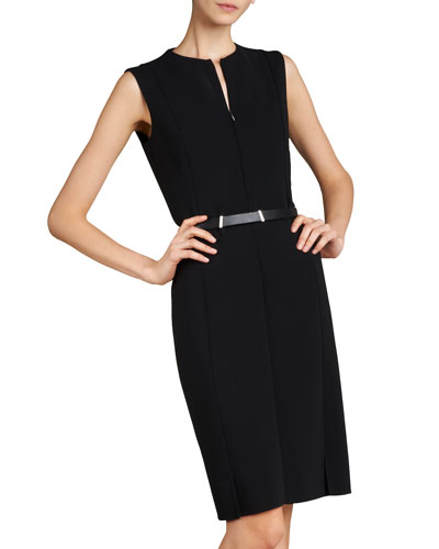 Sleeveless Zip-Front Sheath Dress, Black