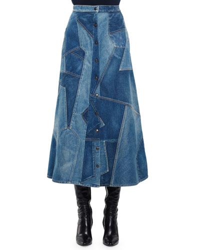 Patchwork Denim Midi Skirt, Denim