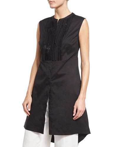 Sequined Sleeveless High-Low Tunic, Black
