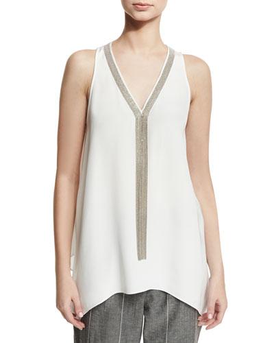 Sleeveless Silk Tunic with Monili Necklace, White