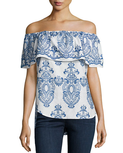 Christina Embroidered Off-The-Shoulder Top, White/Blue