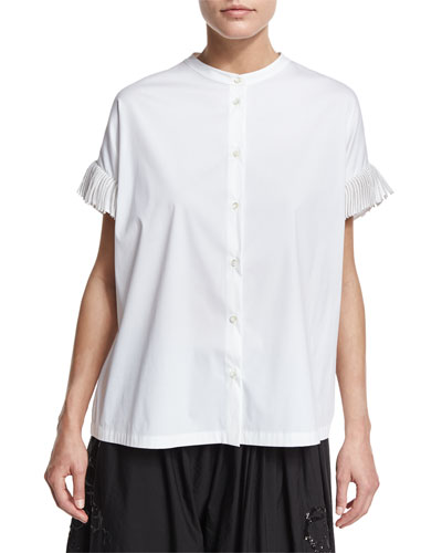 Oversized Mandarin-Collar Blouse, White